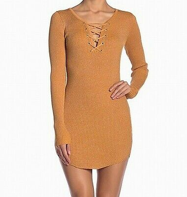 2b13d0c024 Planet Gold NEW Yellow Womens Size Large L Shimmer Lace Up Sweater Dress   39 952
