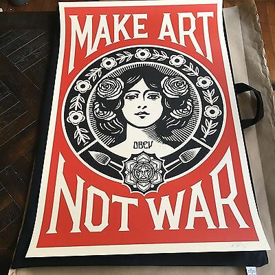 "Shepard Fairey OBEY! MAKE ART NOT WAR 24"" x 36""Offset Litho Signed  RARE ICON"