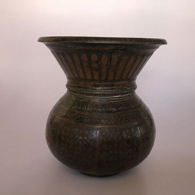 An old Hindu Traditional Ritual Brass GANGA JAMUNA lota or vase Collectible