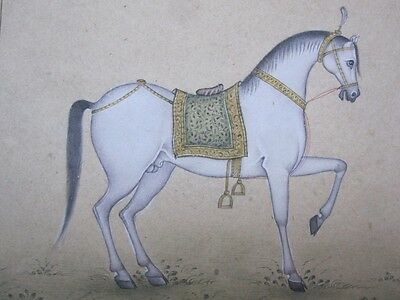An old or antique look miniature paper painting of a horse STONE COLOR.