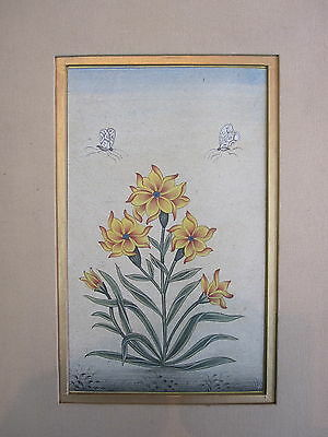 001 Old antique look miniature paper painting of mughal style flowers color