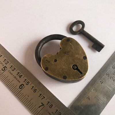old or antique solid brass miniature padlock lock heart shape with key