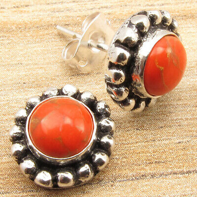 925 Silver Plated Beautiful ORANGE COPPER TURQUOISE Gems Old Style Stud Earrings