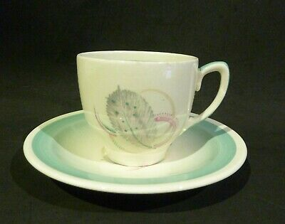 Susie Cooper Art Deco Grey Leaf Demitasse Cup & Saucer, Green, Crown Works