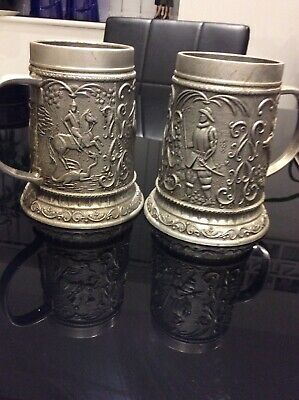 pair of Antique pewter Decorative Tankards Sealed Knot George Dragon ??.