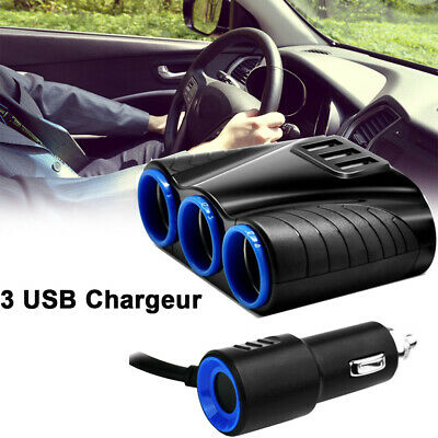 12V 3 Ports USB Adaptateur Chargeur Voiture Prise Allume-Cigare pour Android