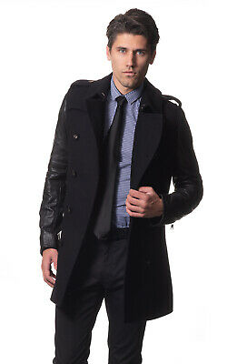 AUSTRALIA DESIGNER Men's Wool Trench Coat - Leather Contrast Arms - Italian Fab