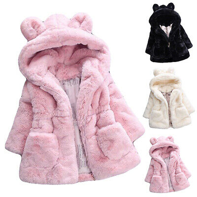 Winter Baby Girls Bunny Coat Fleece Jacket Fur Hooded Princess Coat Sweatshirts