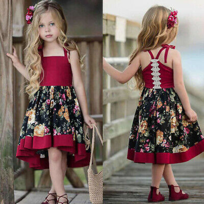 Toddler Baby Girls Sleeveless Dress Party Princess Floral Sundress Outfit summer