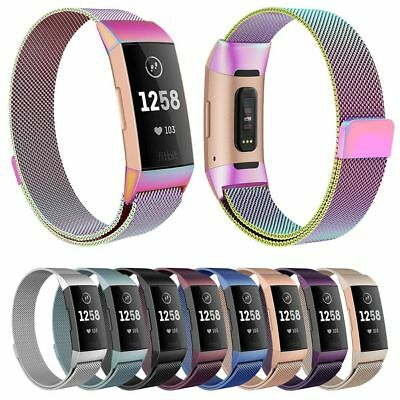 US Fitbit Charge 3 Wristband Stainless Steel Milanese Magnetic Loop Band Strap