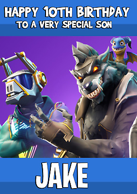 age Personalised Any name Fortnite Birthday Card relation gaming PS4 Xbox