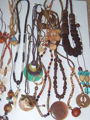 1 Ethnic Tribal Hippy Surfer Theme Necklace ~ Drop Down Menu ~ Wood, Shell etc..
