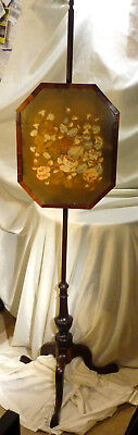 Antique Victorian Embroidery Panel Stand Fire Screen Mahogany Pole Screen 61""