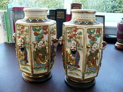 Antique Pair  Meiji  Japanese Vases And Bases- Seven Lucky Gods In Deep Relief