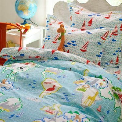 DESIGNERS GUILD Kids ONE Oxford Pillowcase AROUND THE WORLD AQUA New