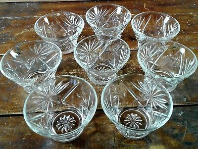 Set of 8 Dessert Bowls Anchor Hocking Early American Prescut EAPC Oatmeal Glass