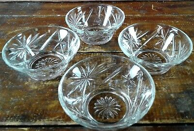 Set of 4 Custard Cups Anchor Hocking Early American Prescut EAPC Oatmeal Glass