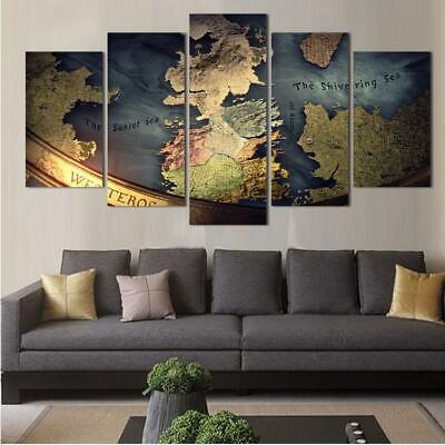 5 Panels Game Of Thrones Map Canvas Art Game Thrones Print Artwork Decor Home