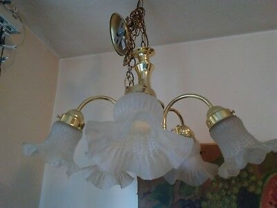 Vintage5-Arm Chandelier Light Fixture With Frosted Tulip Glass Shades