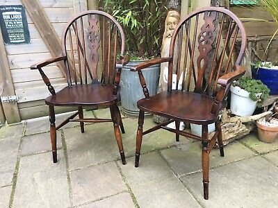 A Pair of Wheelback Kitchen Carver Dining Armchairs Chair