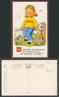 MABEL LUCIE ATTWELL Old Postcard Bicycle, I'm Roaming My Thoughts Go Homing 6144