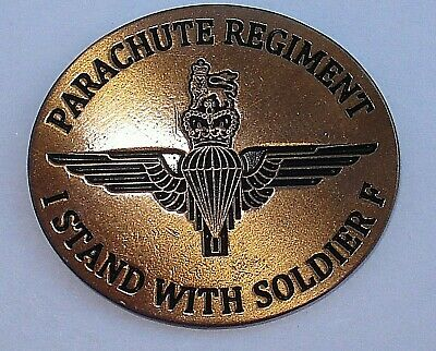 I STAND WITH SOLDIER F PARACHUTE REGIMENT CREST BRITISH ARMY N IRELAND pin badge