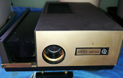 Vintage Hannimex slide projector with slide holder catridge