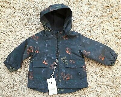 Mothercare Baby Boys Hooded Shower Jacket Coat Age 3/6 Months Diggers Trucks