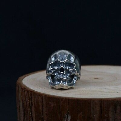 Real 925 Sterling Silver Ring Skull Punk Open Size 8 9 10 11 12