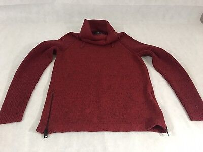 LADIES EXPRESS FASHION RED BLACK PULL OVER SWEATER TURTLENECK SMALL Zipper #08