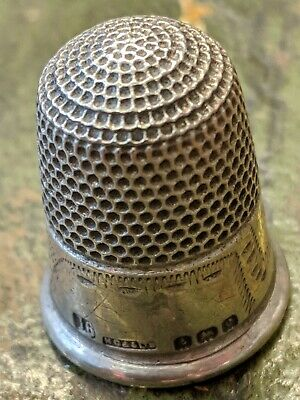 Antique English Silver Thimble HG&S Sterling Silver 1902 size 16