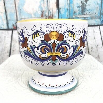 Deruta Pottery Hand painted Compote Pedestal Bowl Floral Made in Italy