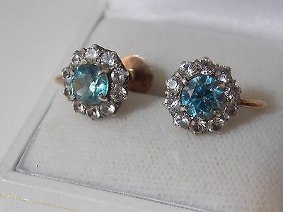 Vintage Art Deco 9ct Rose Gold Screw back Earrings Blue Zircon Spinel 12d 55