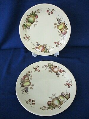 """2 Dinner Plates, Johnson Brothers Staffordshire Old Granite """"Orchard"""" 25cm Dia"""