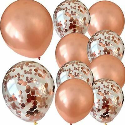 16 Pack Rose Gold Confetti Latex Helium Balloons Wedding Hen Party Team Bride
