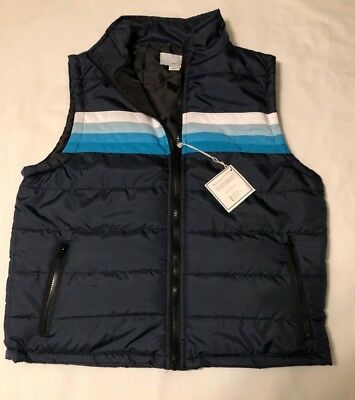 Mens Small Striped Vest Navy Blue Striped Puffer Quilted Retro Vintage Inspired