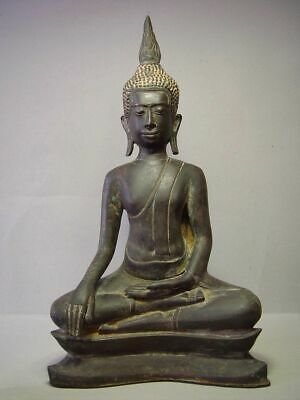 ANTIQUE BRONZE MEDITATING UTHONG BUDDHA, 18/19th C. RARE