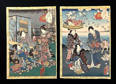 PAIR KUNISADA II UTAGAWA Murasaki Tale of Genji Antique Japanese Woodblocks
