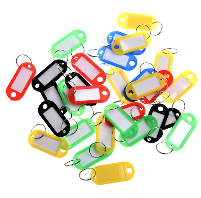 Pack of 50  Assorted Key Fobs Plastic colour Tags Paper Inserts Split Rings