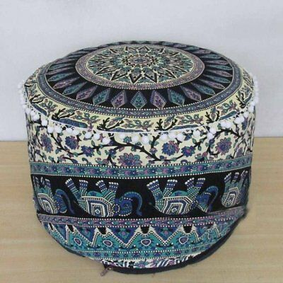 Indian Ottoman Cover Foot Stool Tapestry  Bohemian Throw Round Cover 22'' Decor