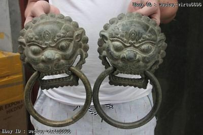 Chinese Folk Bronze Copper FengShui Foo Dog Guardian Lion knocker Statue Pair