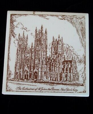 Vintage Mosaic Tile Co Cathedral St. John The Divine New York Trivet Art