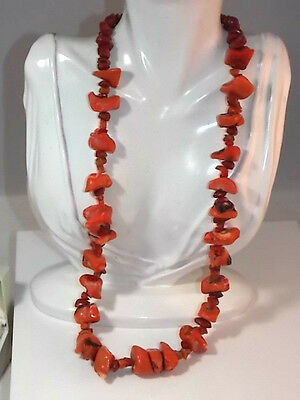 "Chunky Vintage Genuine Salmon Coral Red Jasper stone Bead Strand 26"" Necklace"