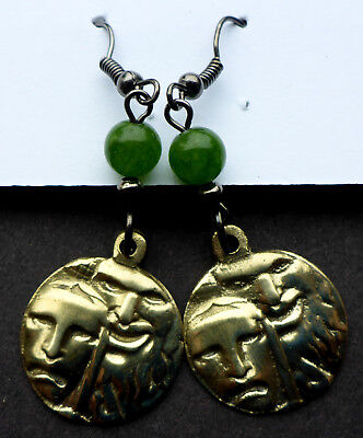 "ART DECO BRASS/JADE 1930'S ITALIAN THEATER AWARD ""COMEDY/TRAGEDY"" earrings"