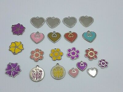"""21Pc Mix Lot Colorful Spring Metal Heart Flower Tag Charm 1""""+ Blank Engrave"""