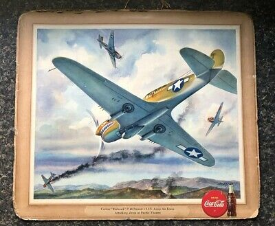 Vintage 1943 Coca Cola World War II CURTIS WARHAWK P40 PURSUIT Cardboard Sign