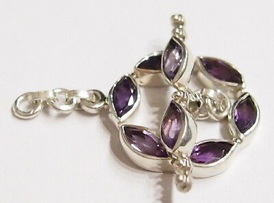 Tested Sterling Silver Marquis Amethyst Gem Toggle Clasp for Necklace/Neck Wire