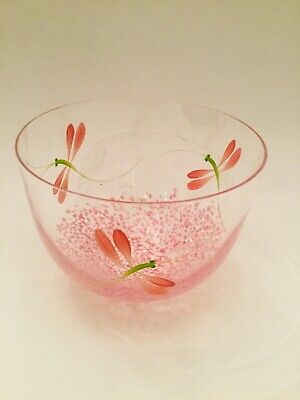 KOSTA BODA SIGNED C.A L FW SWEDISH ART GLASS VASE or BOWL DRAGONFLY PINK CRYSTAL