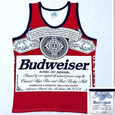 3a00d0b0f10a42 BUDWEISER King Of Beers Mens Tank Top Skate Sleeveless Shirt Red Blue White  Sz M