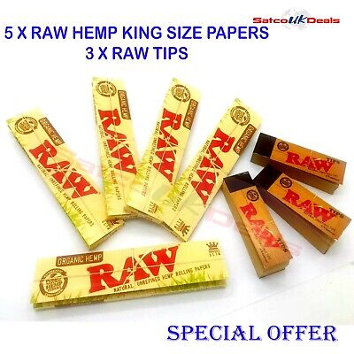 5 RAW Organic Hemp + 3 Raw Tips King size Slim Rolling Papers Authentic Booklets